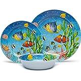 Melamine Dinnerware Set for 4, 12pcs Unbreakable Bowls and Plates Set, Service for 4, Dishwasher Safe, Lightweigjt, Sea Fish Pattern