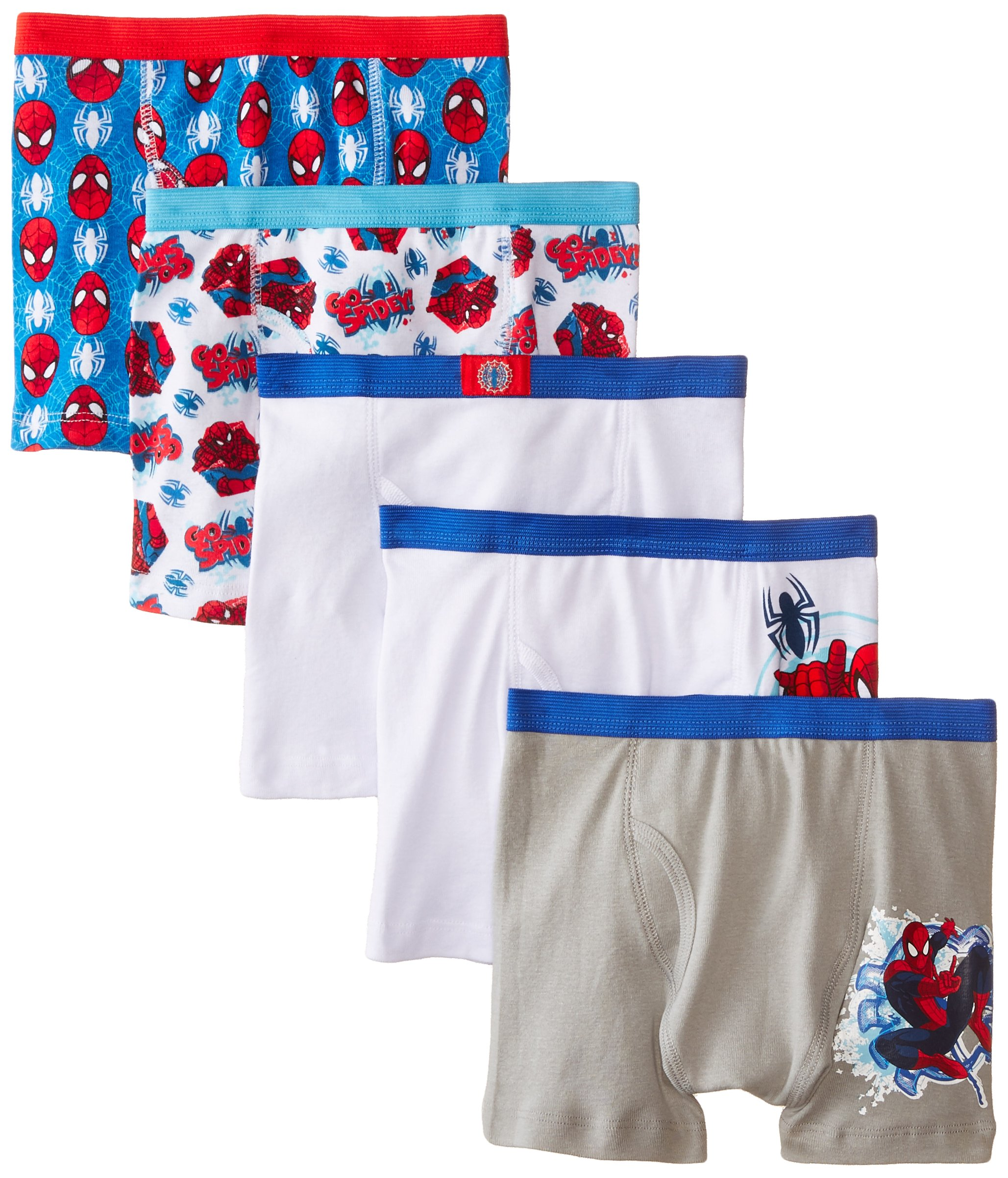 Marvel Little Boys' Spiderman 5 Pack Boxer Brief, Assorted, 6