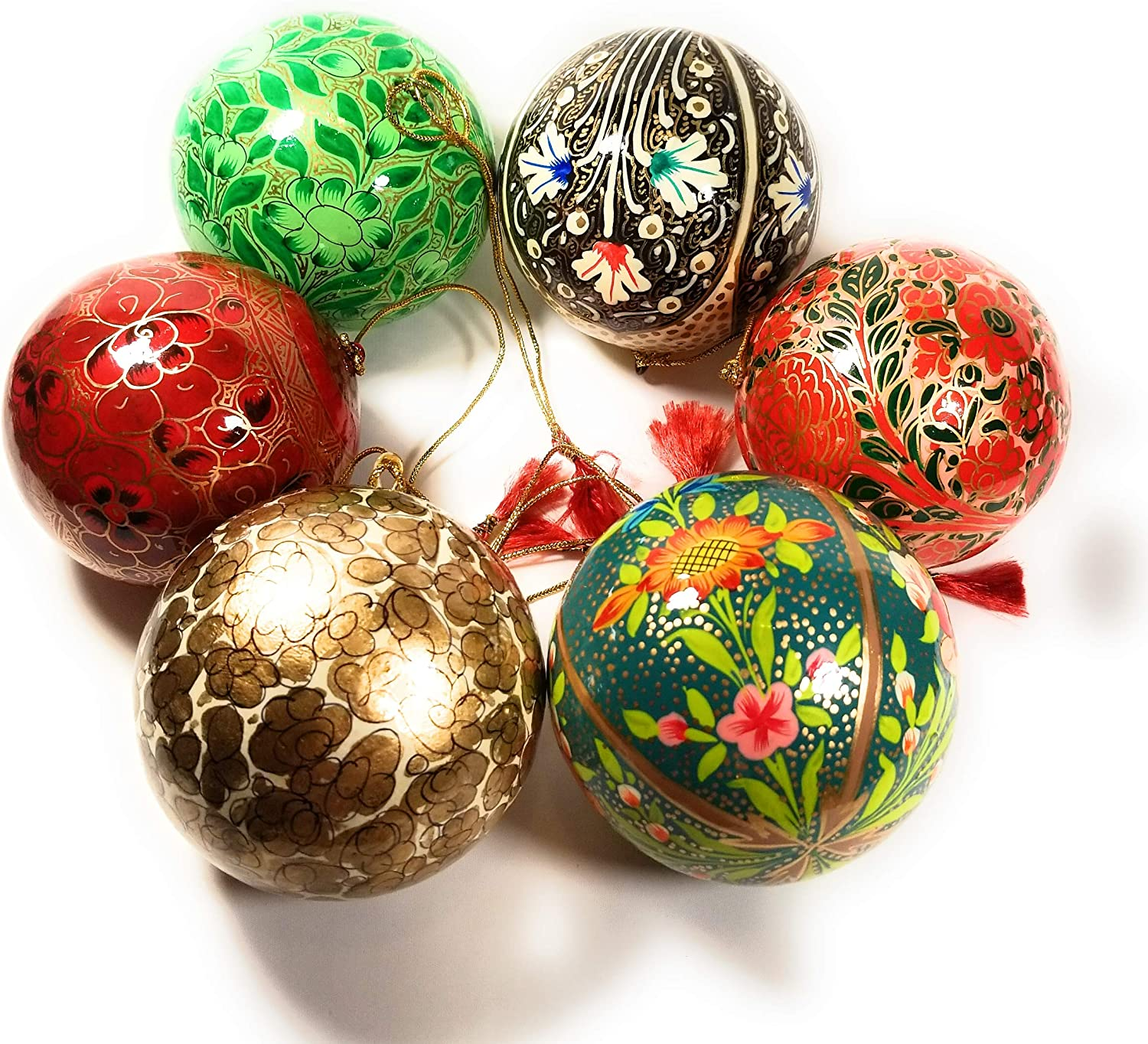 9cm Paper Mache Christmas Bauble Shaped Decoration Hanging Paint Craft x 2