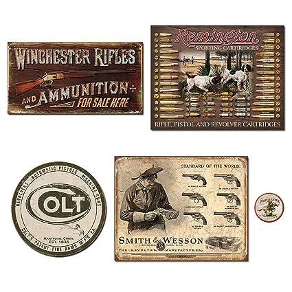 DE Sign Vintage Metal Signs Gun Bundle - Winchester Rifles & Ammo,  Remington Bullet Board, Colt Round Logo, Smith and Wesson Revolver  Manufacturer