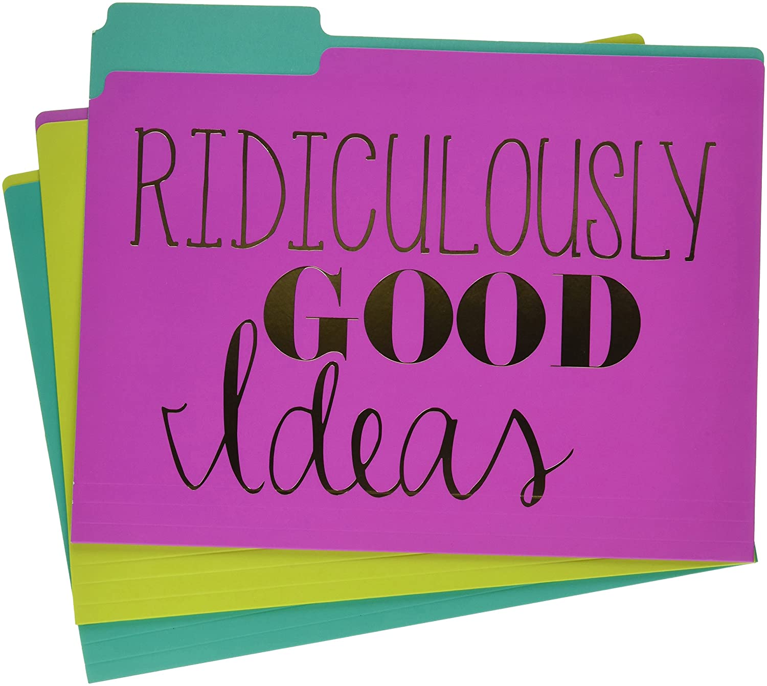 Gold Brilliant Thoughts, Ridiculously Good Ideas, File & Forget Decorative File Folders (Set of 9)