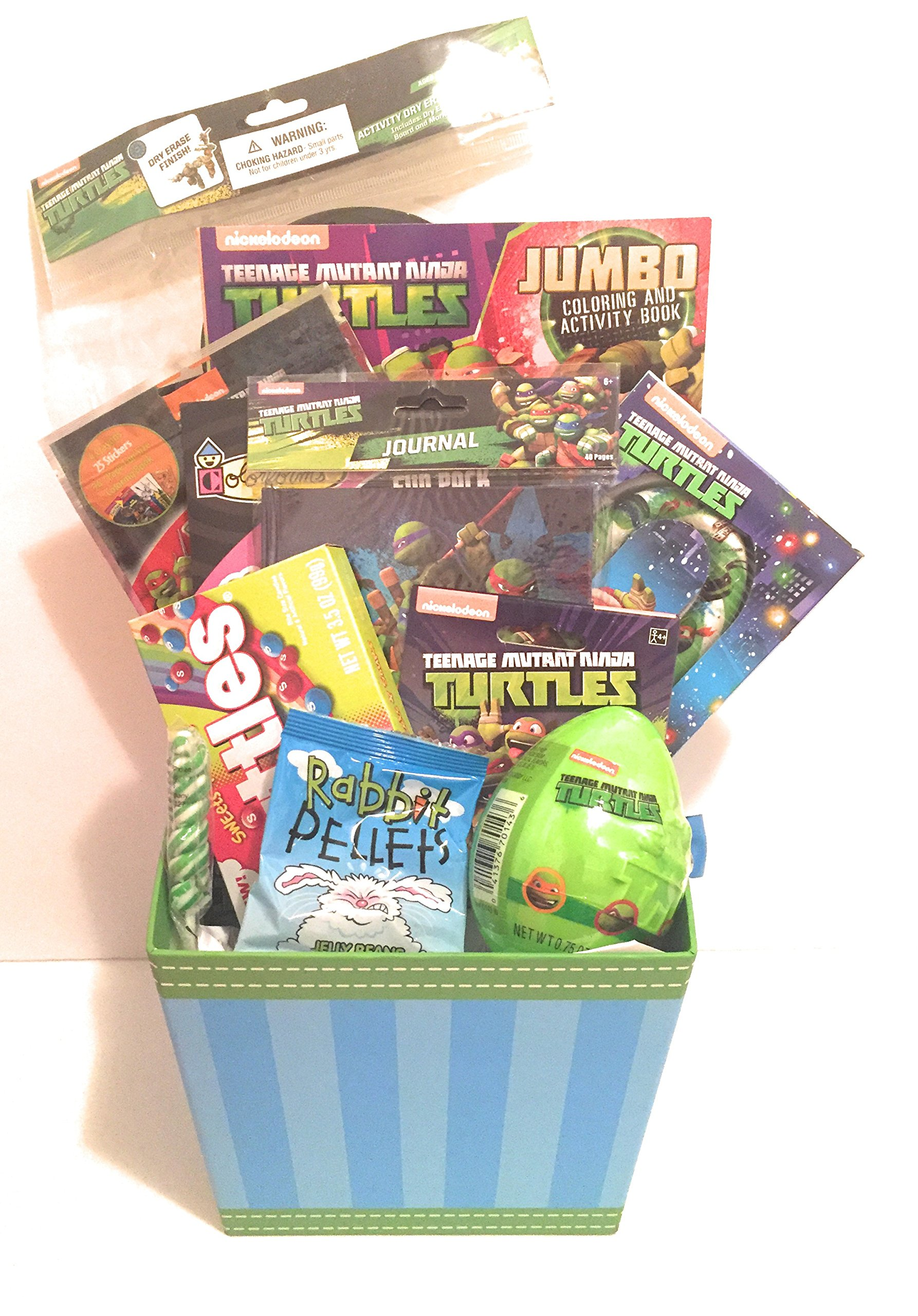 Nickelodeon Teenage Mutant Ninja Turtles Easter Holiday Gift Basket or Birthday Basket - Journal, Play&GoPack, Candy,Stickers,Coloring Book - 12 pieces by Greenbrier