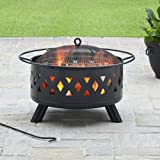 "Better Homes and Gardens 28"" Lattice Heavy Duty Outdoor Patio Fire Pit includes Grilling Grate, Cover and Lifter"