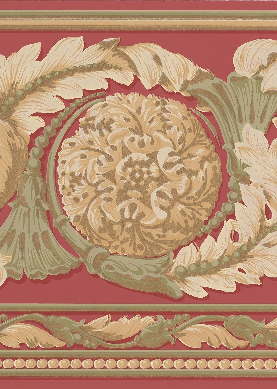Schö n Gold Grü n auf Rot Modern Damask breit Tapete Bordü re Traditionelles Design, Rolle 15 'x 22,9 cm Rolle 15 ' x 22 York Wallcoverings