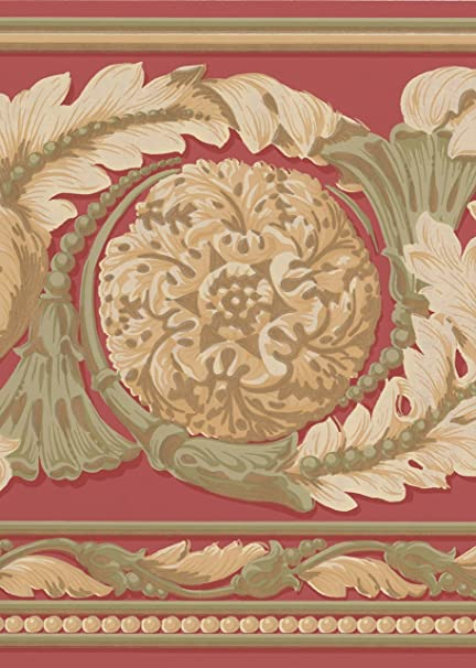 Beautiful Gold Green On Red Modern Damask Wide Wallpaper Border