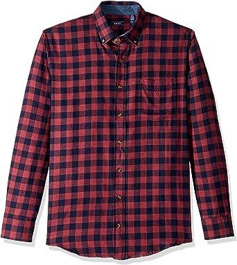 IZOD - Camisa de franela de manga larga con botones para hombre: Amazon.es: Ropa y accesorios
