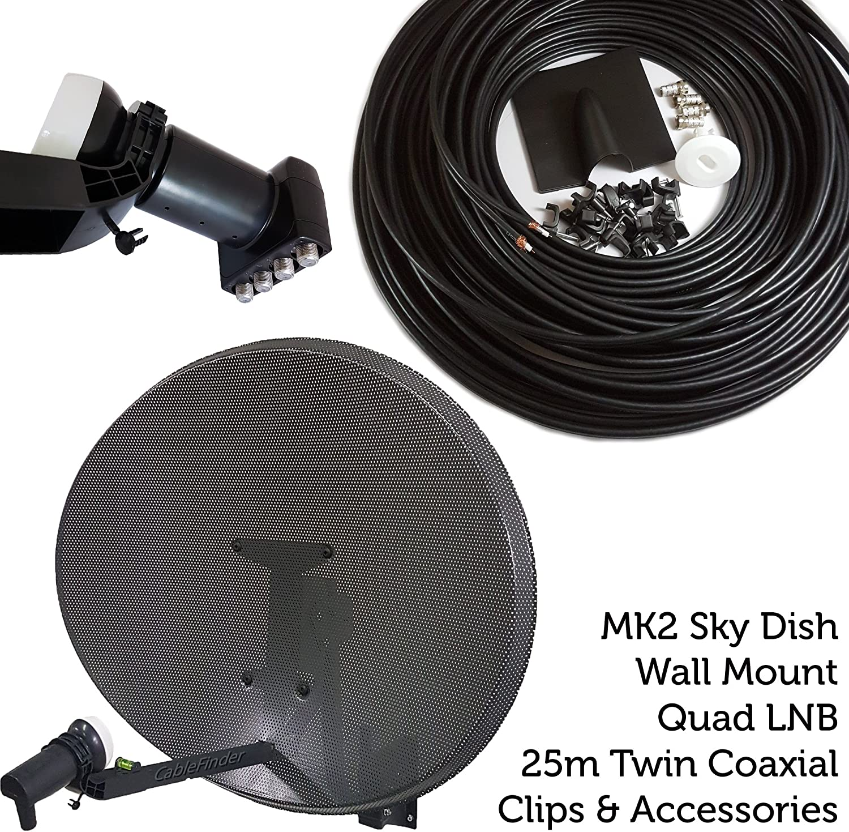 60 cm MK4 Antena parabólica Kit de instalación – LNB Quad 4 Puertos & WF65 Cable COAXIAL – para Sky/HD/Freesat – cablefinder: Amazon.es: Electrónica