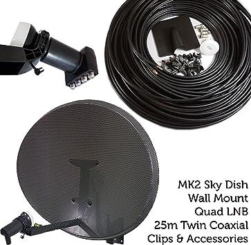 60 cm MK4 Antena parabólica Kit de instalación – LNB Quad 4 Puertos & WF65 Cable COAXIAL – para Sky/HD/Freesat – cablefinder