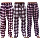GIVEITPRO 3 Pack -Women Flannel Pajama Pant Pajama Bottoms-100% Cotton Yarn-dye Woven
