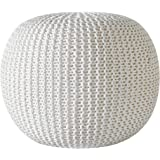 Urban Shop Round Knit Pouf - Hand Woven Cotton, Ivory
