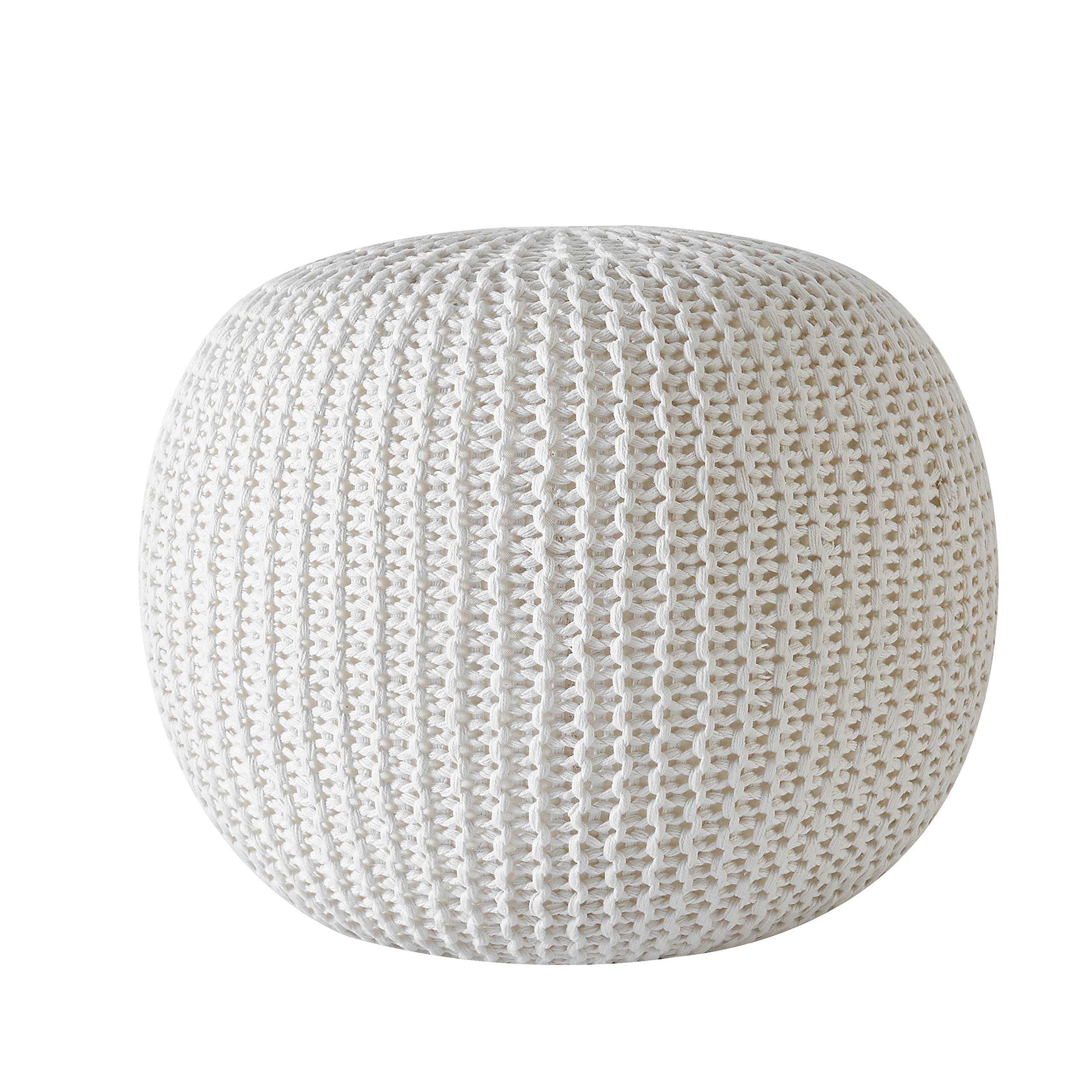 Urban Shop Round Knit Pouf - Hand Woven Cotton, Ivory by Urban Shop