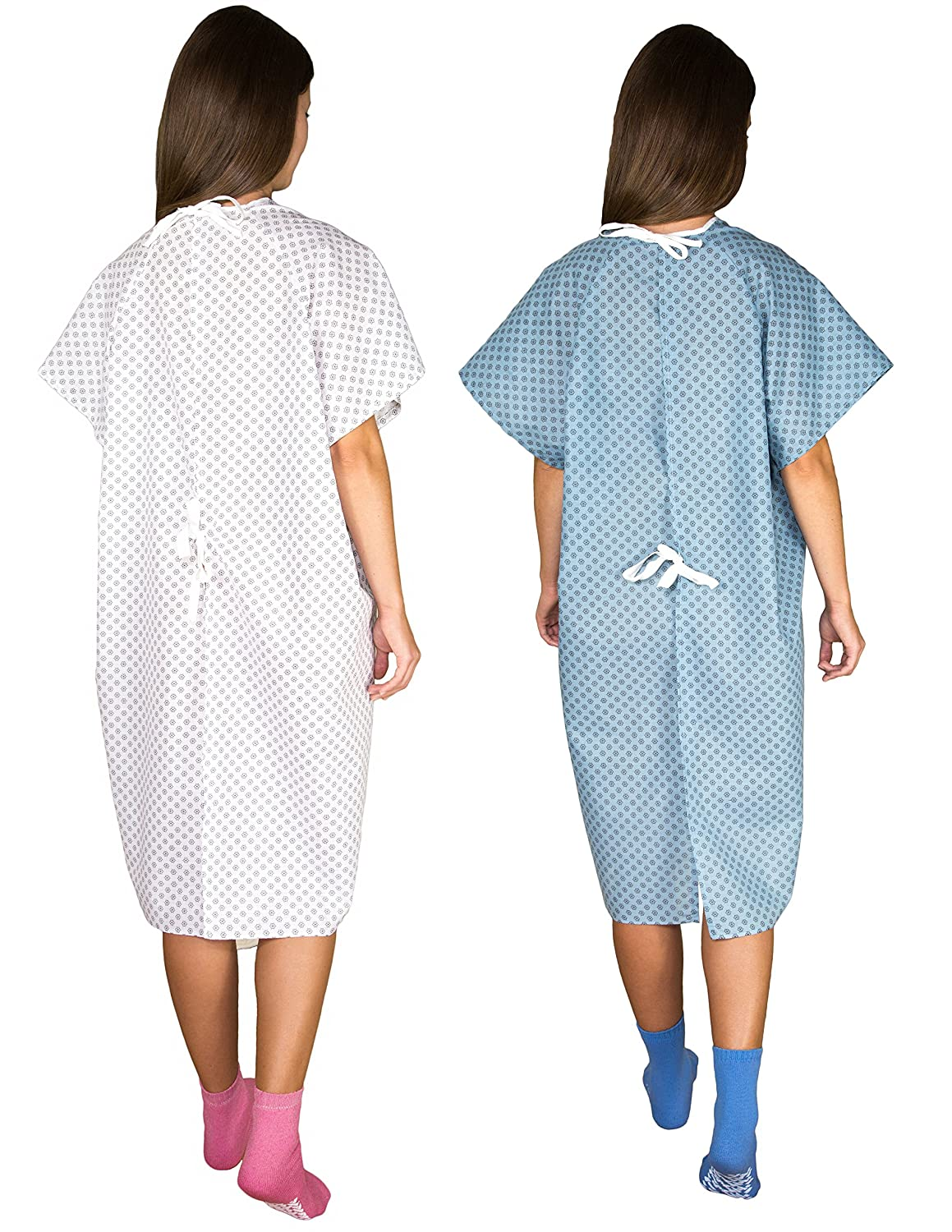 Amazon.com: 2 Pack - Blue and White Hospital Gown with Back Tie ...