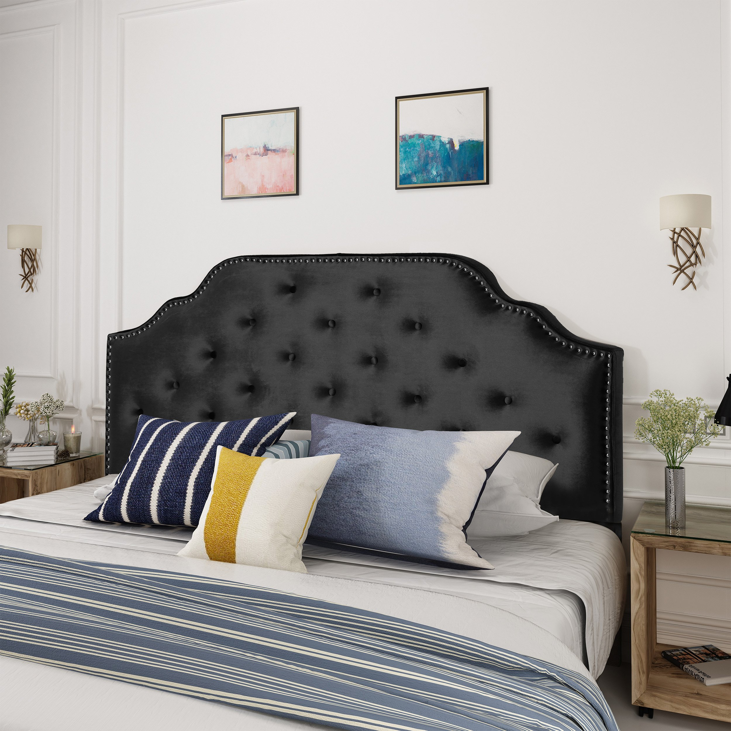 Christopher Knight Home Silas Velvet Full/Queen Headboard, Black by Christopher Knight Home