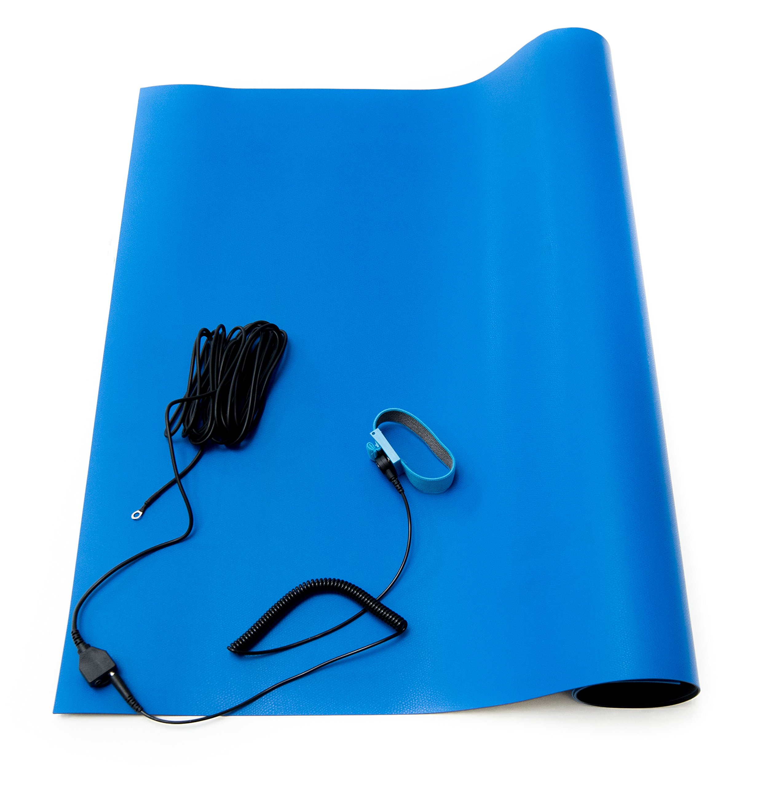 Bertech ESD High Temperature Rubber Mat Kit with a Wrist Strap and Grounding Cord, 18'' Wide x 24'' Long x 0.06'' Thick, Blue, Made in USA