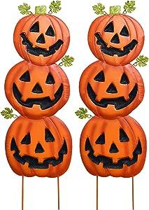 Gift Boutique Stacked Metal Halloween Jack-O-Lanterns Garden Stakes, Set of 2; Halloween Decoration