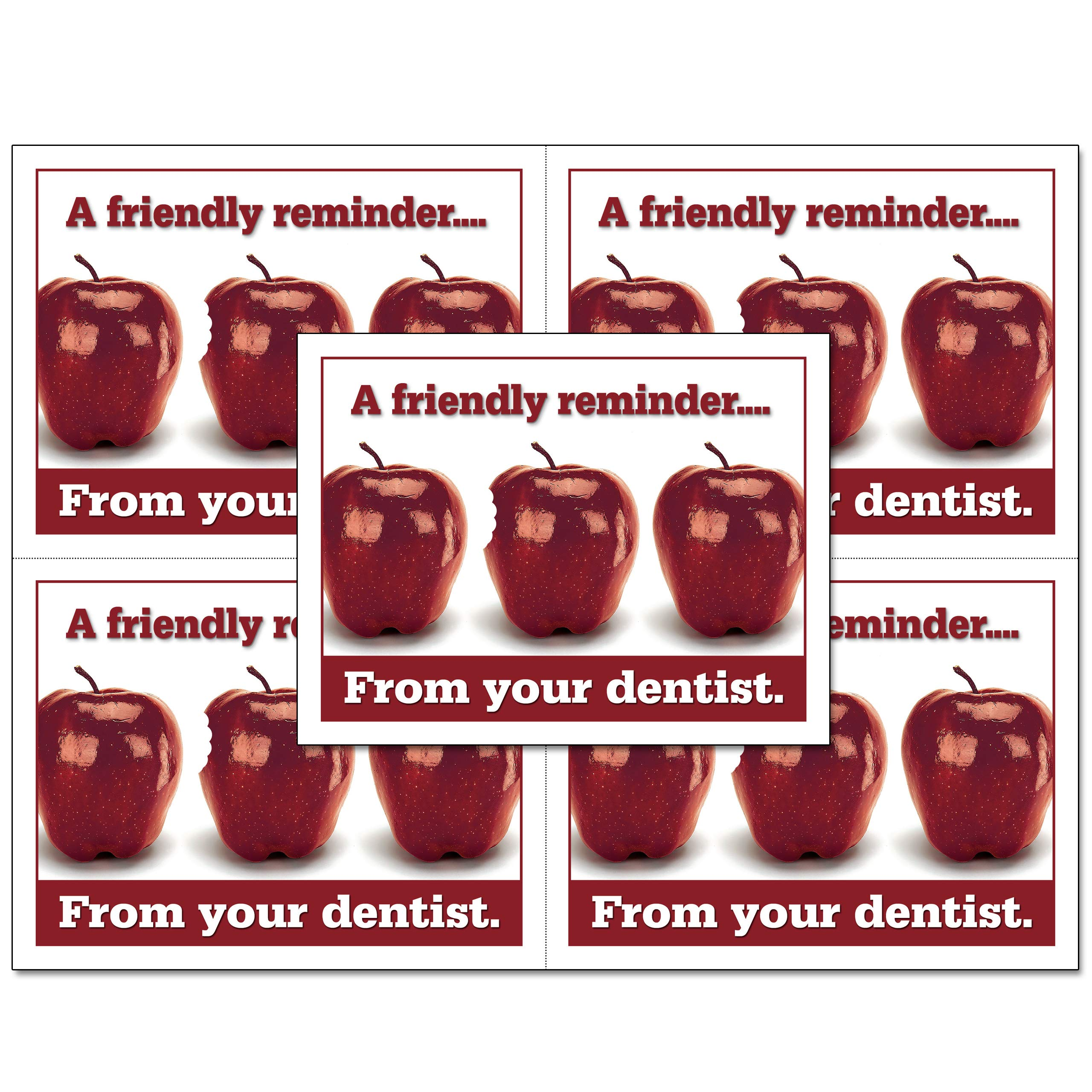 Laser Reminder Postcards, Dental Appointment Reminder Postcards. 4 Cards Perforated for Tear-Off at 4.25'' x 5.5'' on an 8.5'' x 11'' Sheet of 8 Pt Card Stock. DEN106-LZS (5000) by Custom Recall (Image #1)