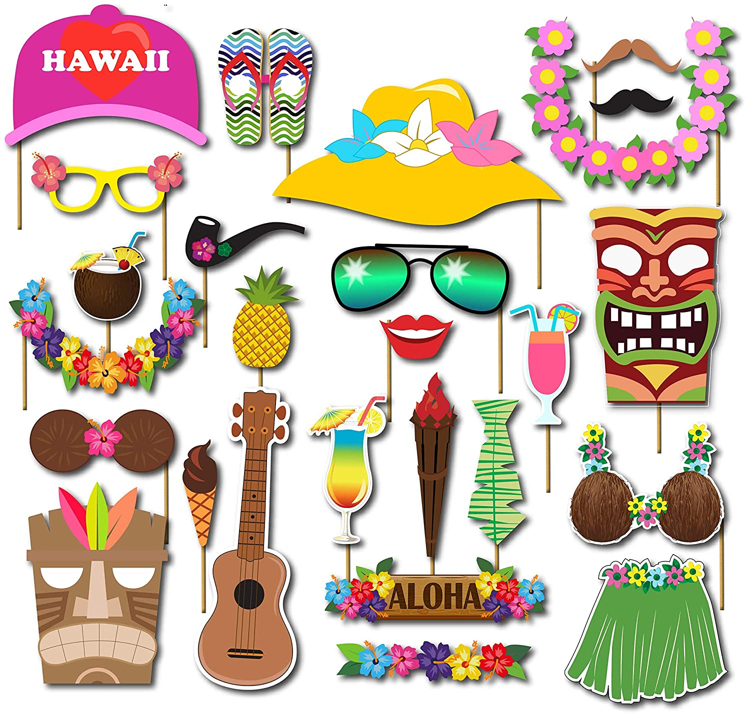 Luau party supplies decorations photo booth props Kit 36Pcs Aloh//Hawaiian//Tropical//Tiki//beach//Summer Pool Party favors for kids Supplies Kingyao