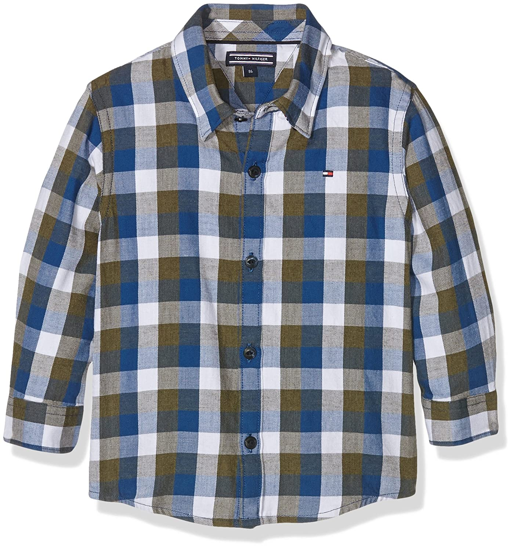 Tommy Hilfiger Jungen Hemd DG Gingham Twill Check Shirt L/S, Mehrfarbig (Grape Leaf 305), 98 (Herstellergröße: 3)