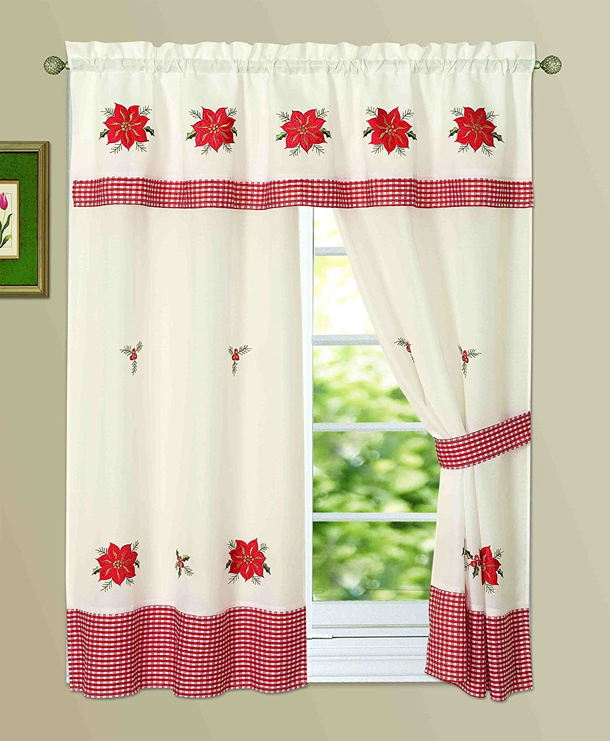 New 3pc Attached Christmas Holiday Design Embroidered Kitchen Curtain Set with 2 Tiebacks