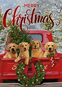 Covido Home Decorative Merry Christmas Garden Flag, Red Truck Holiday House Yard Xmas Tree Wreath Dogs Decor Sign, Winter Outside Welcome Decorations Seasonal Outdoor Small Flag Double Sided 12 x 18