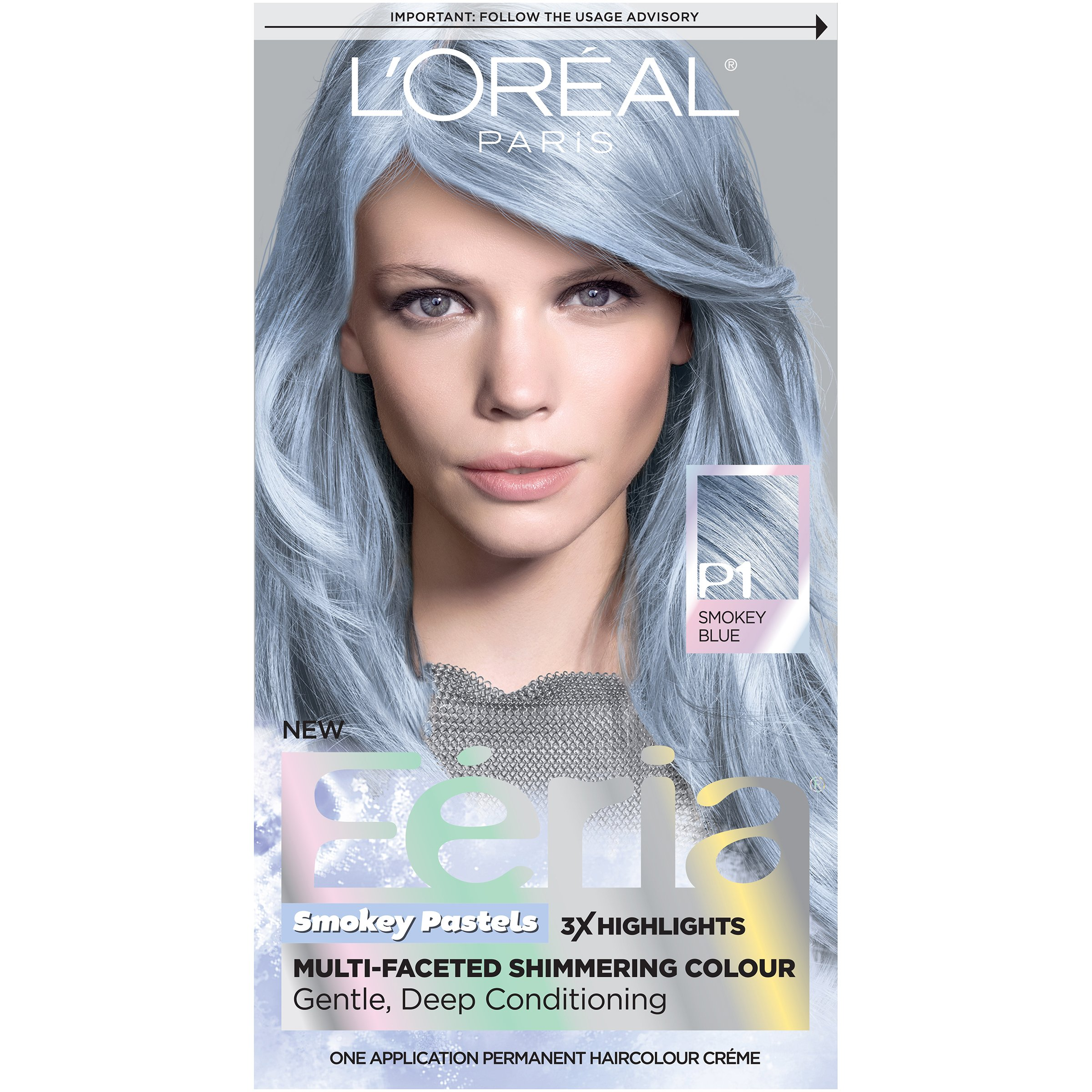 L'Oreal Paris Feria Multi-Faceted Shimmering Permanent Hair Color, Pastels Hair Color, P1 Sapphire Smoke (Smokey Blue), Pack of 1, Hair Dye
