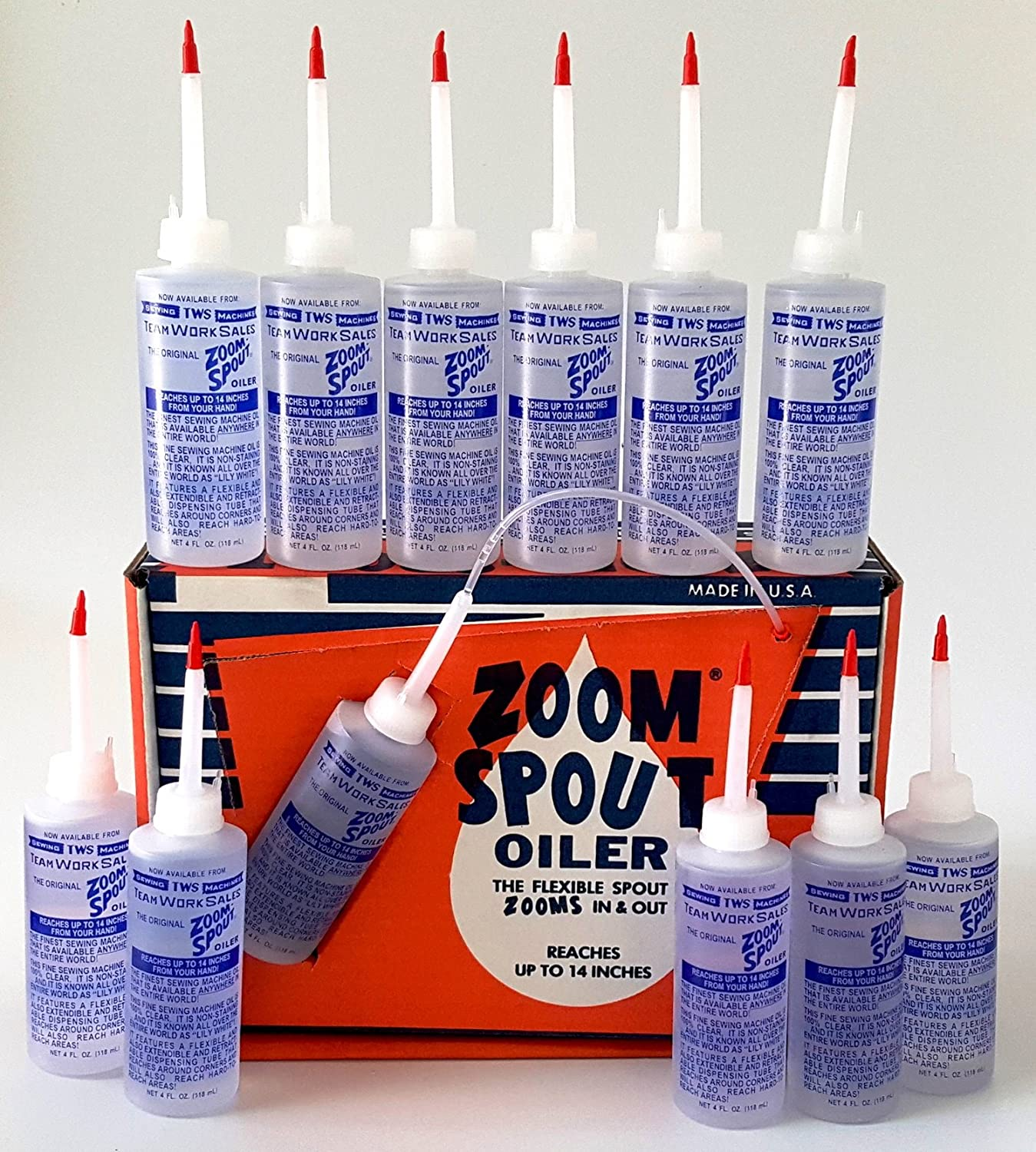 ZOOM SPOUT OILERS - 4 OZ CLEAR WHITE LUBRICANT OIL PACK OF 12 MADE IN THE U.S.A. TEAMWORK SALES