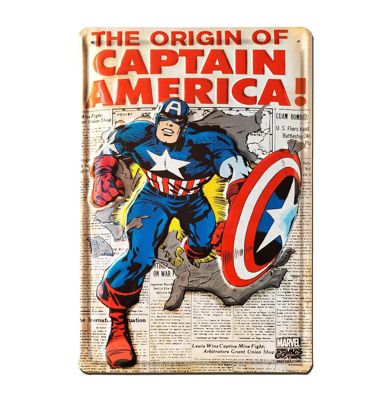 LOGOSHIRT - Marvel Comics - Capitá n Amé rica - The Origin of Captain America Muestra del metal - Placa de metal - Retro - 20x30 - Diseñ o original con licencia