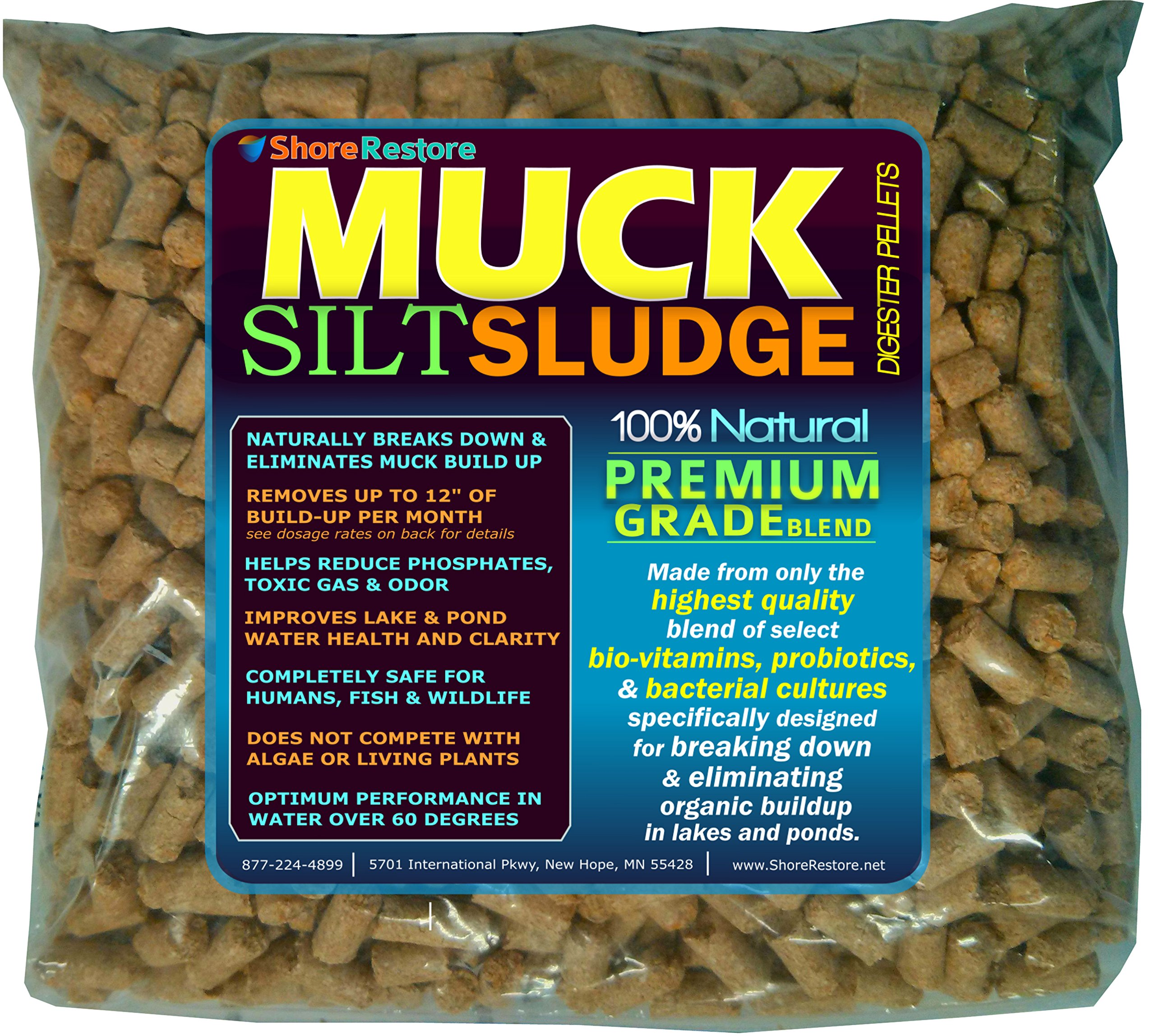ShoreRestore - Eco Friendly MUCK SILT SLUDGE Digester Pellets Bacteria Enzymes Reduce Control Organic Build-up in Lake and Pond (3lbs) by Shore Restore