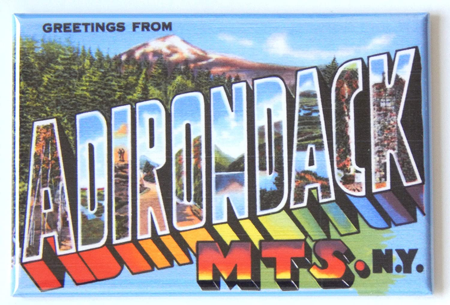 Greetings from Adirondack Mountains New York Fridge Magnet (2 x 3 inches)