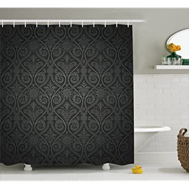 Ambesonne Damask Shower Curtain, Antique Baroque Pattern with Mild Ombre Shade Gothic Victorian Style, Fabric Bathroom Decor Set with Hooks, 84 Inches Extra Long, Sage Green Charcoal Grey