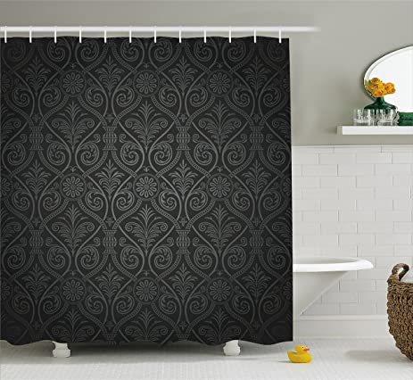 Black Shower Curtain By Ambesonne, Antique Baroque Damask Pattern Gothic  Curvy Vintage Victorian Venetian Style