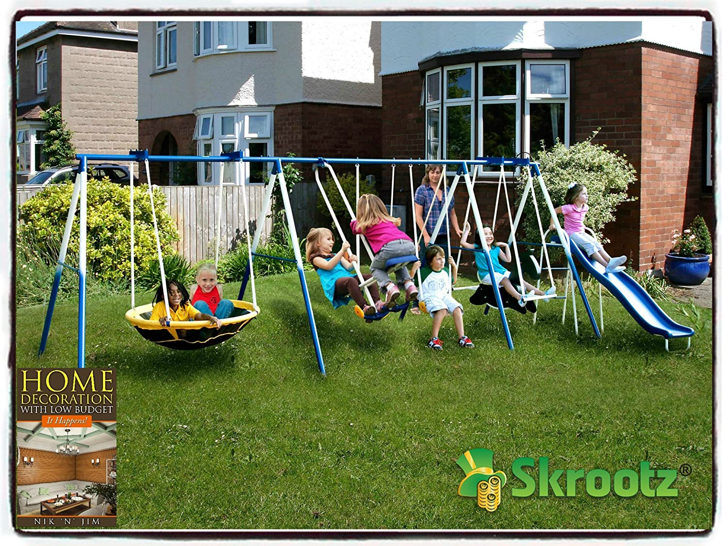 Kids outdoor playground includes trampoline swings and for Trampoline porch swing