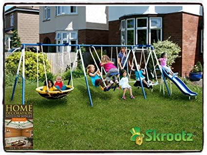 Metal Swing Set Outdoor Patio Swings Kids Slide Backyard Playground Fun  Swingset Play Children Playset Gym
