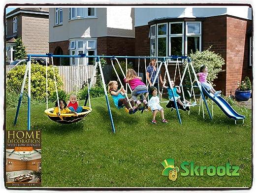 Amazon.com: Metal Swing Set Outdoor Patio Swings Kids Slide ...