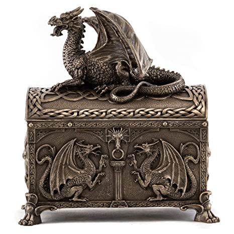 Remarkable Top Collection Celtic Dragon Hinged Treasure Of The Gold Chest Mythical Celtic Dragon Of Power And Wisdom In Premium Cold Cast Bronze 7 Inch Bralicious Painted Fabric Chair Ideas Braliciousco