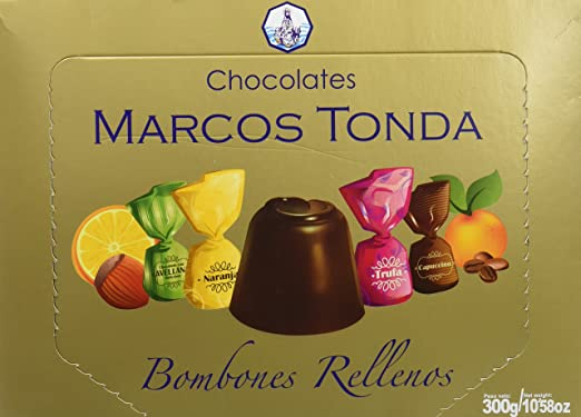 Chocolates Marcos Tonda Estuche Regalo Bombones Chocolate Rellenos Surtido - 2 Paquetes de 300 gr -