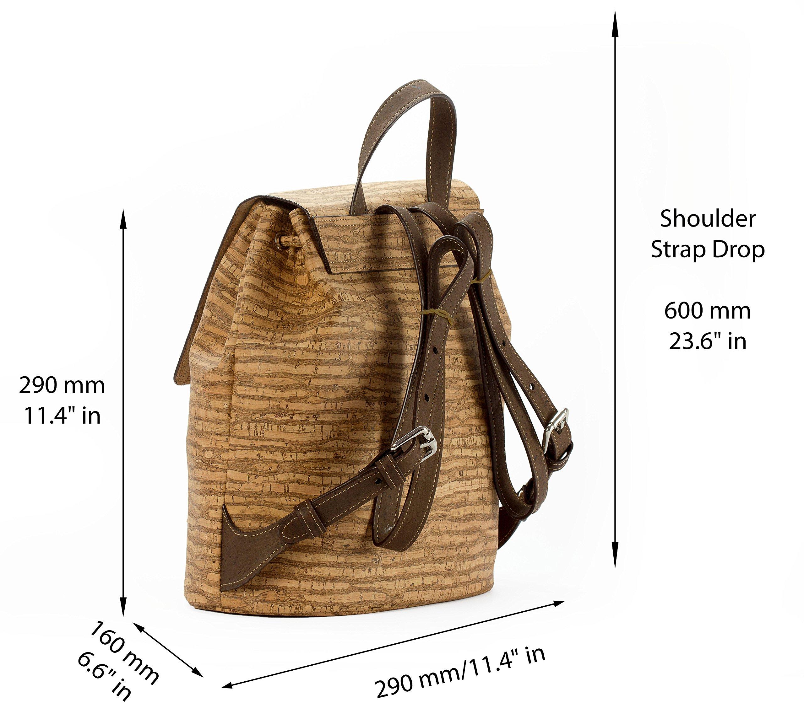 Corkor Cork Backpack - Vegan Handbag For Women Top Flap Back Pack Travel School Natural Zebra by Corkor (Image #4)