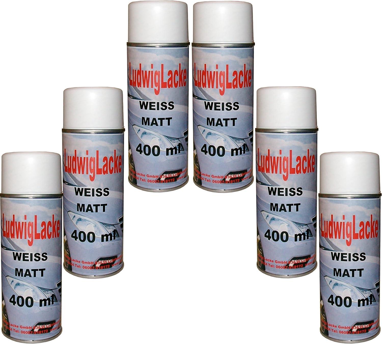 6 Lackspray Weiss Matt 400 Ml Je Spraydose Auto