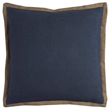 Rizzy Home T11026 Decorative Down Filled Throw Pillow 22  x 22  Blue