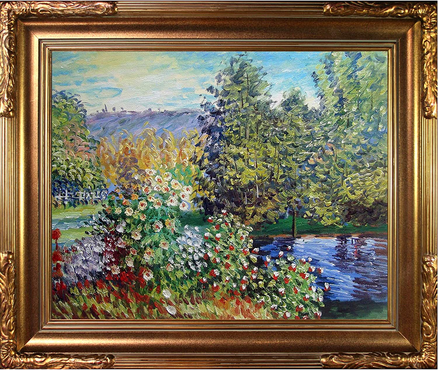 """La Pastiche Corner of The Garden at Montgeron with Florentine Gold Framed Oil Painting, 27"""" x 23"""", Multi-Color"""