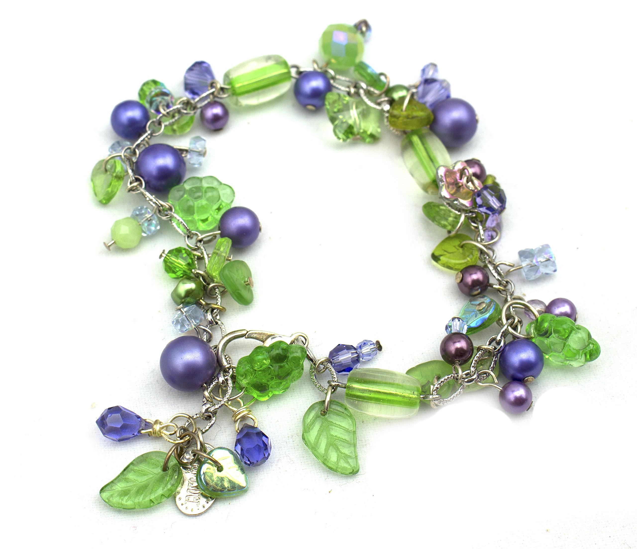 Grape Vine Bracelet Swarovski Glass Leaves, Small Purple Pearls, Vintage Grapes + Adjustable HandMade USA by Gay Isber Design