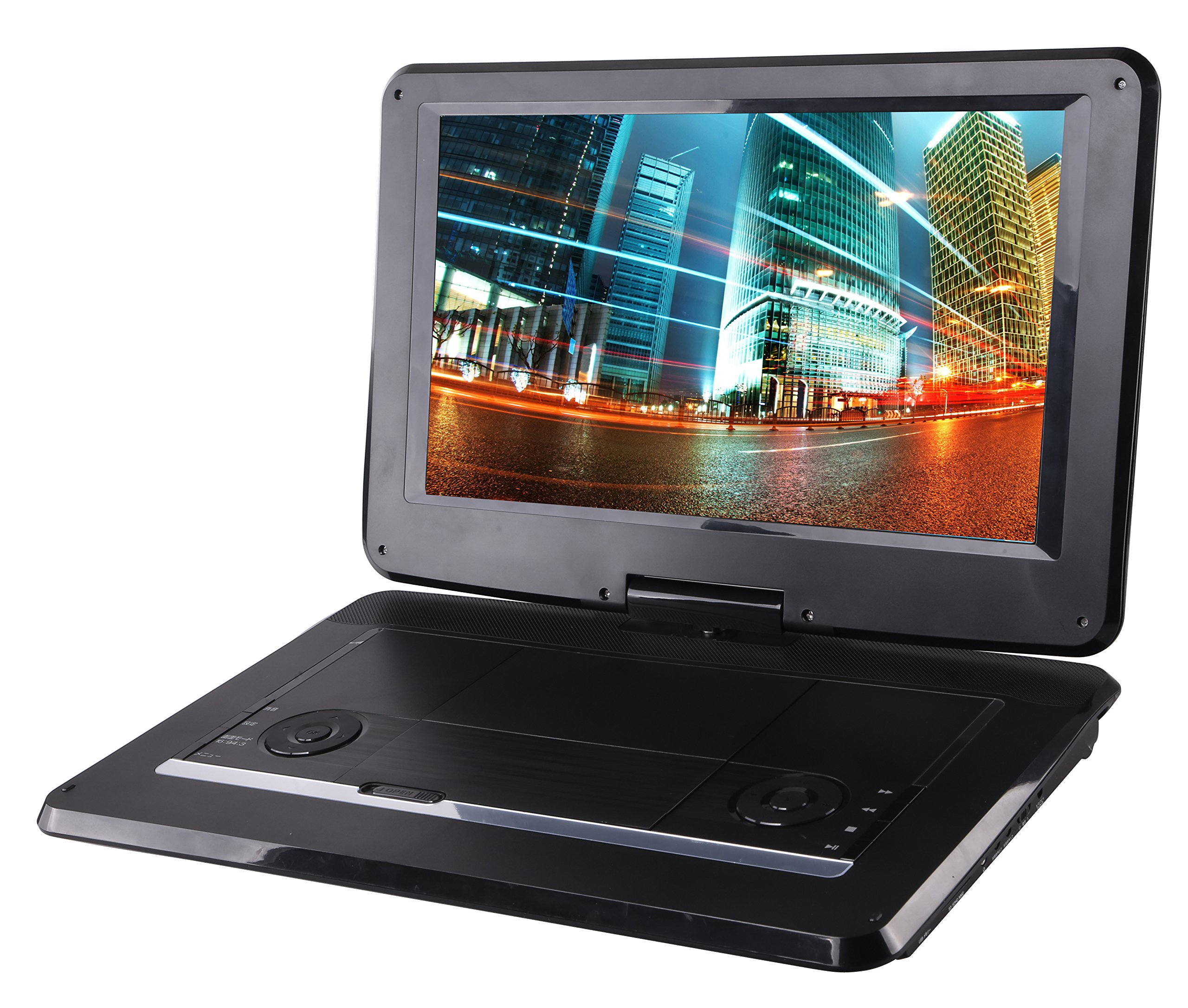 Sylvania 15.6-Inch Swivel Screen Portable DVD Player with USB & SD Card Slot & Rechargeable Battery by Sylvania