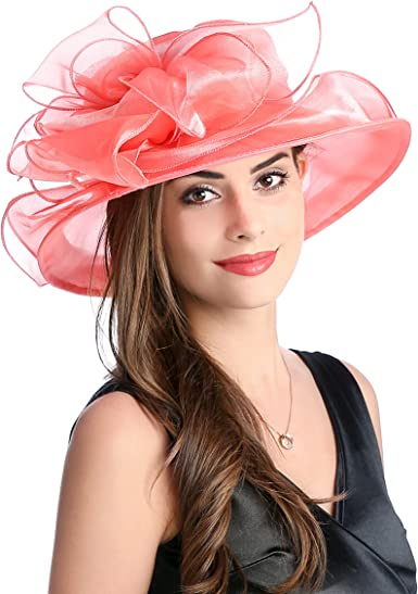 Dantiya Ladies Kentucky Derby Hat Tea Party Church Wide Brim Floral Organza Wedding Beach Summer Hat