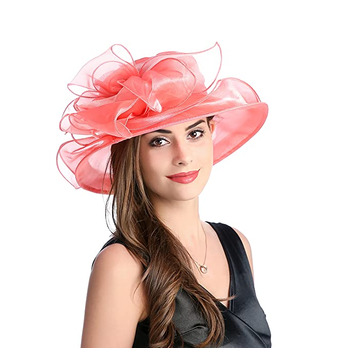 acdf2377 Dantiya Women's Kentucky Derby Sun Hat Church Cocktail Party Wedding Dress  Organza Hat (Dark Pink