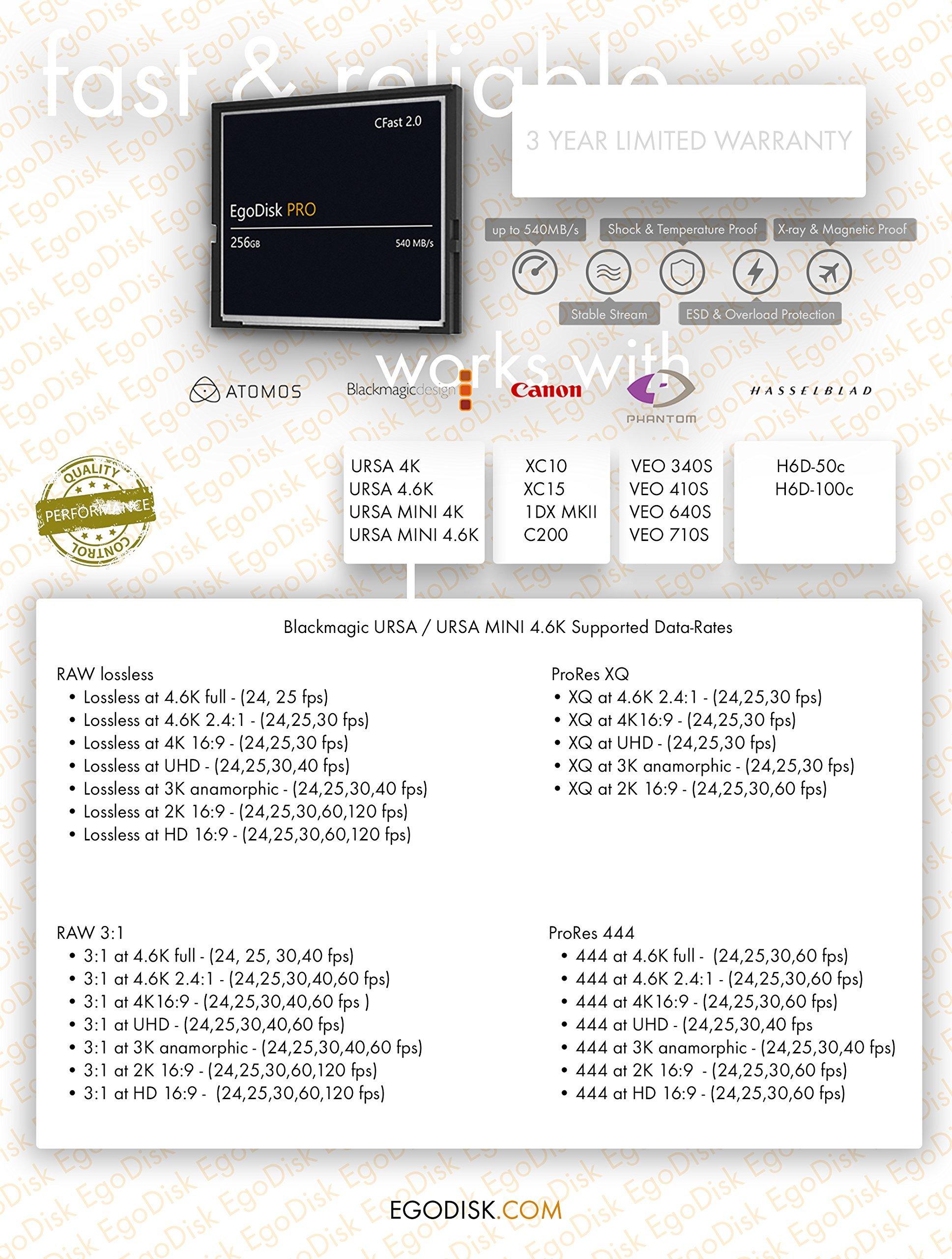 Egodisk pro 256gb cfast 2. 0 card - (blackmagic design ursa mini 4k • 4. 6k | canon • xc10 • xc15 • 1dx mark ii • c200 | hasselblad h6d-50c • h6d-100c | atomos | phantom veo s) - 3 year warranty 2 egodisk. Com 3 year usa limited warranty global shipping video performance guarantee-230 ( vpg-230 ) cfast 2. 0 vpg-230 capacity: 256gb speed: 565mb/s