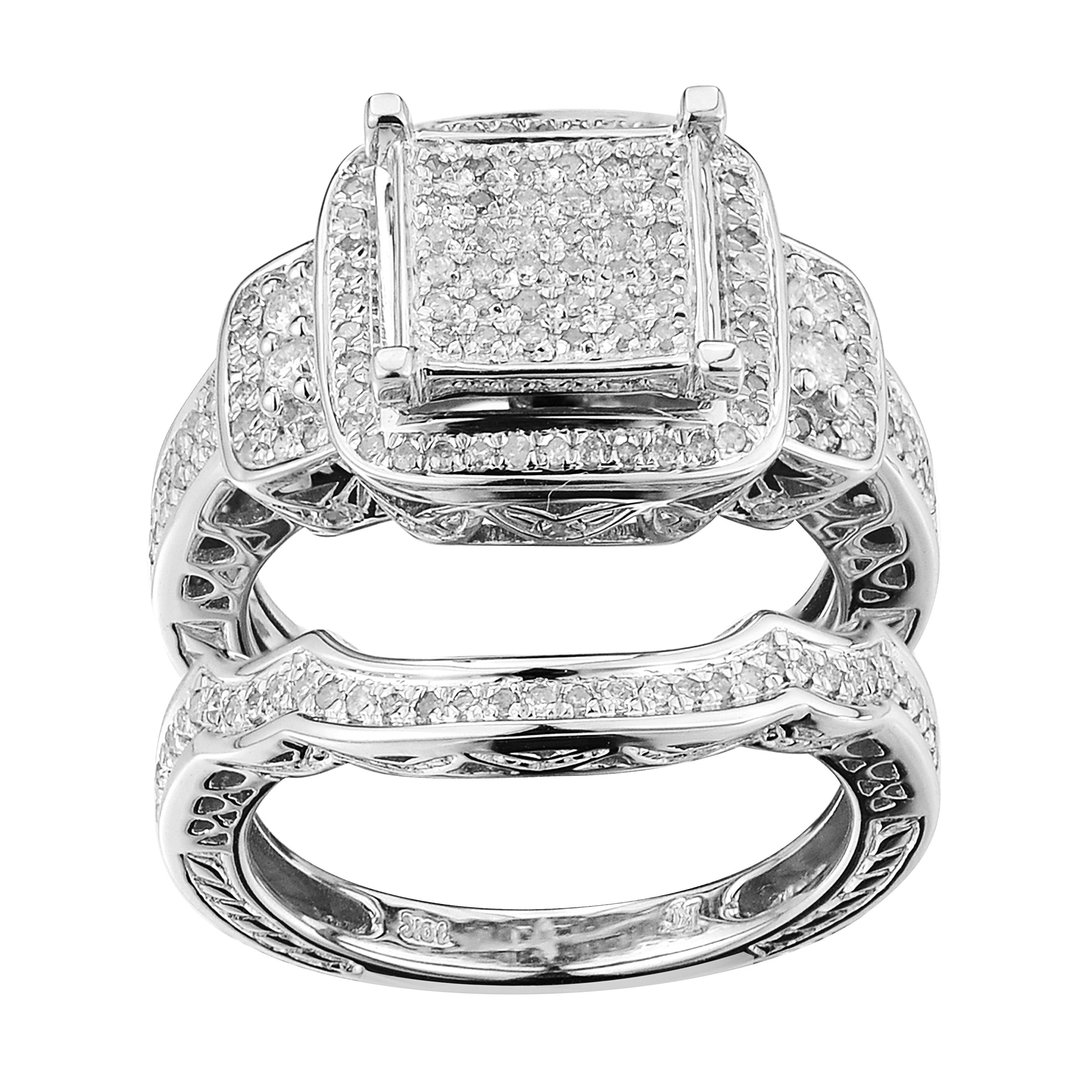 0.46 Carat (ctw) Sterling Silver Round White Diamond Womens Micro Pave Engagement Ring Set 1/2 CT (5) by Top Gold & Diamond Jewelry (Image #1)