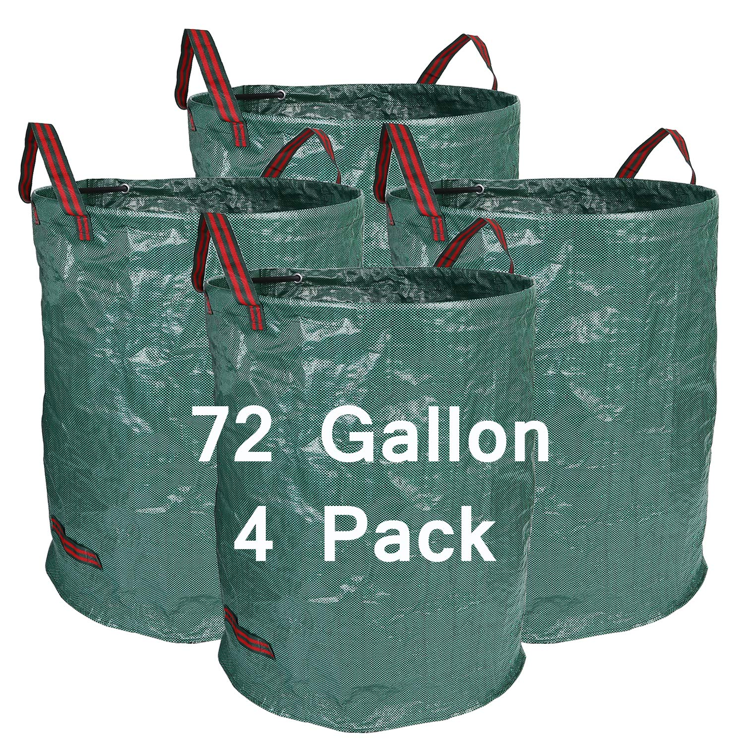 Hengu 4 Pack 72 Gallon Garden Bags Durable Reusable Yard Waste Bags Leaf Waste Trash Container