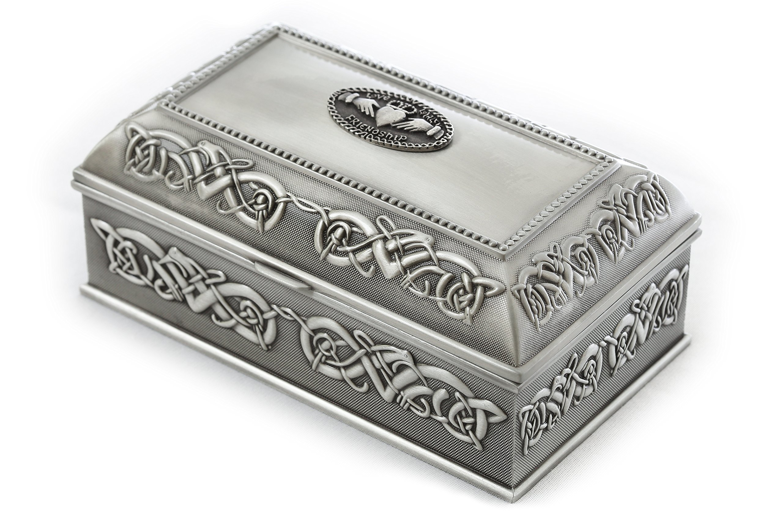 "Claddagh Jewelry Box Large 7""x 4"" x 3 ¼"" Pewter Made in Ireland"