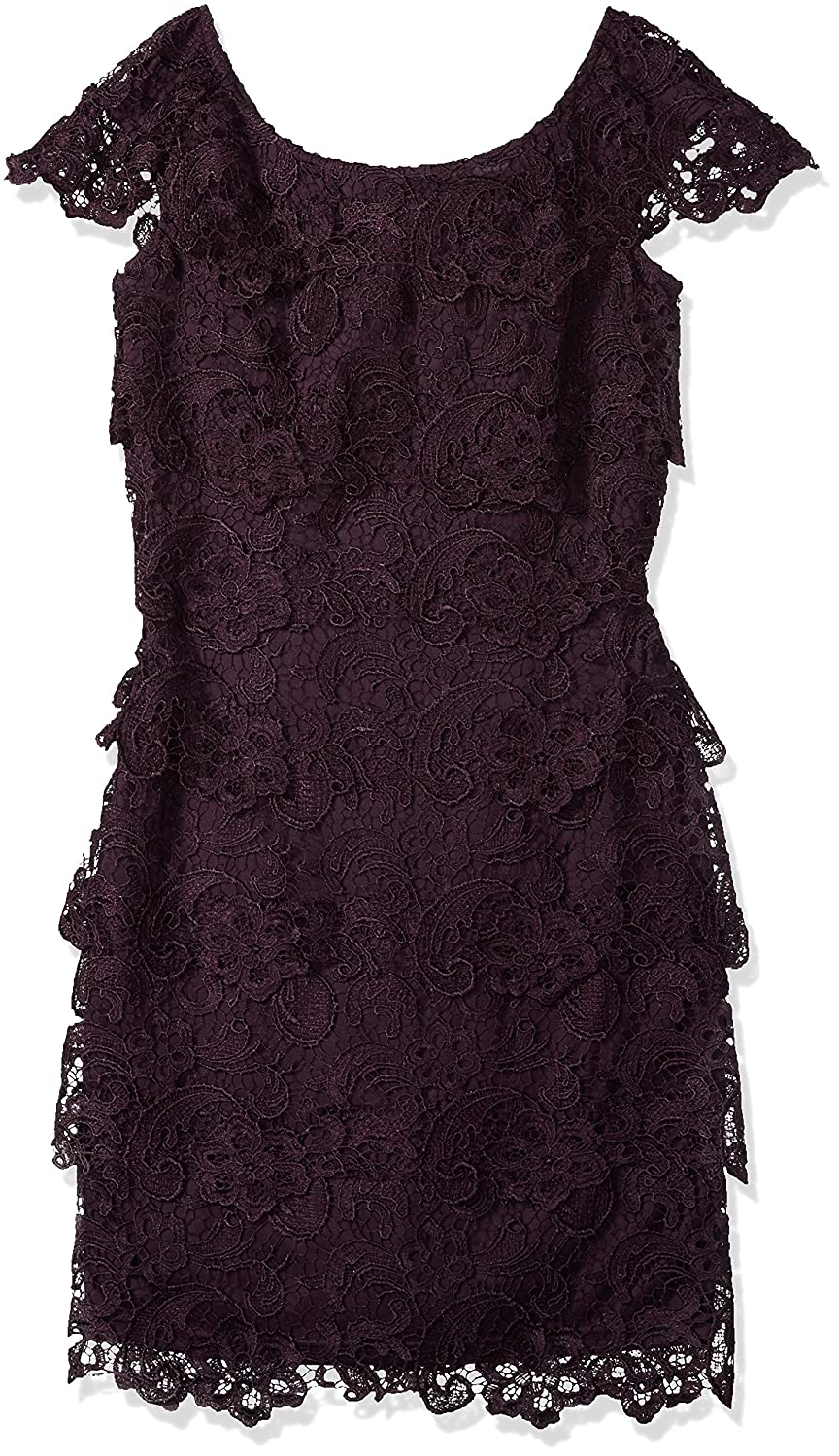 Eggplant Emma Street Womens Lace Tiered Short Dress with Cap Sleeve Dress