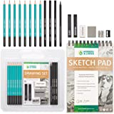 Drawing Set - Sketching and Charcoal Pencils - 100 Page Drawing Pad, Kneaded Eraser. Art Kit and Supplies for Kids, Teens and